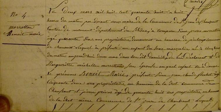 CHAUSSAN 1848-03-02 naissance Benoit Marie MORRETTON-1