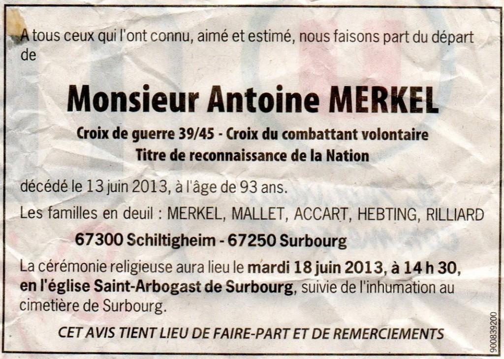 Surbourg 2013-06-16 faire-part décès Antoine MERKEL né 1920
