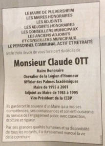 faire part claude OTT - mairie