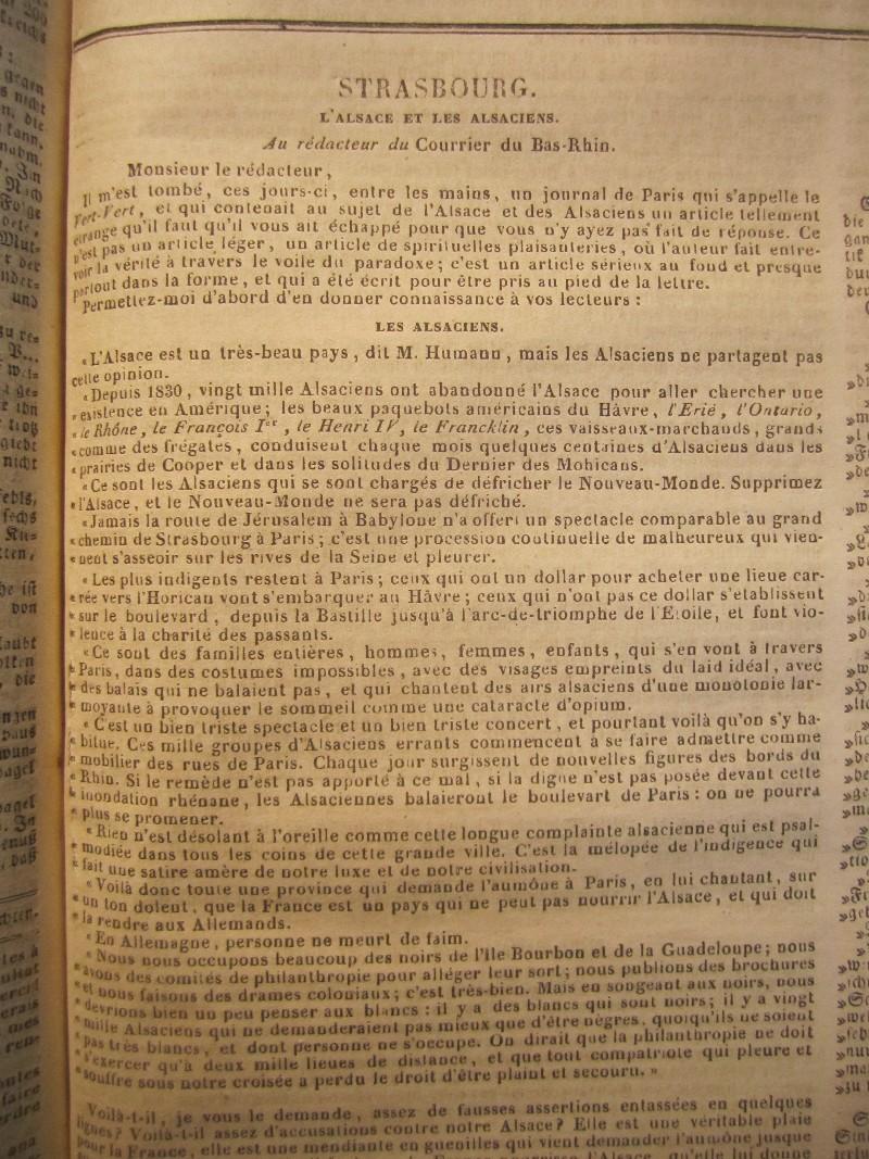 Emigration alsa CBR 22.7.1838