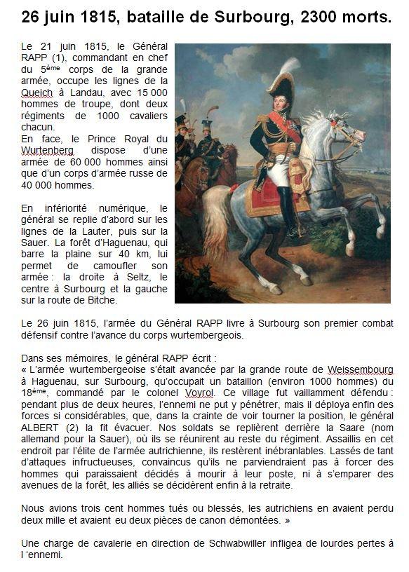 Surbourg - bataille du 26 juin 1815 - Claude SCHMITT-1