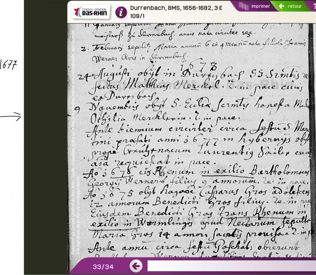 Durrenbach 1677-11-09 décès Odile MERCKEL