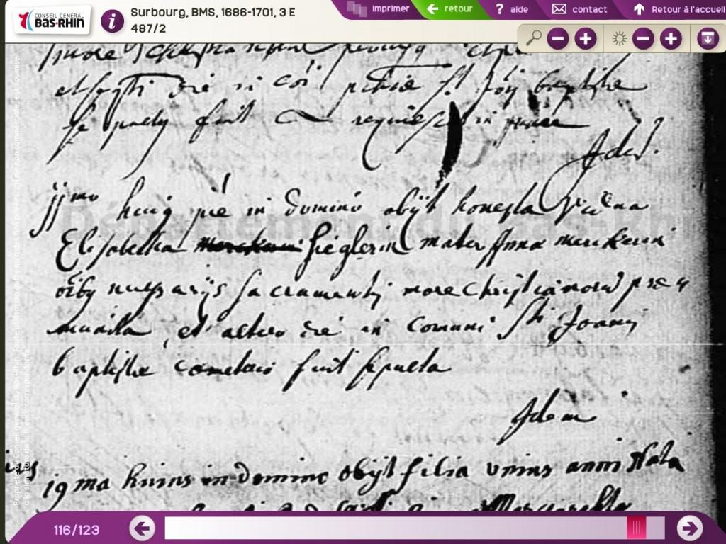 Surbourg 1694-01-11 décès Elisabeth SIEGLER