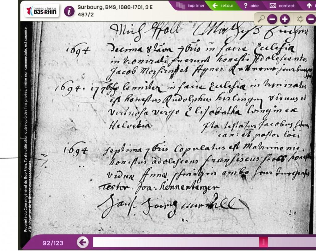 Surbourg 1694-09-07 mariage François STULB - vve Anne SCHMITT