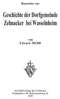Livre sur le village ZEHNACKER et la famille ZEHNACKER