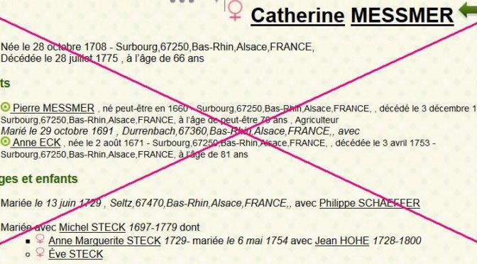 Dédoublement de dames de Surbourg : Catherine MESSMER