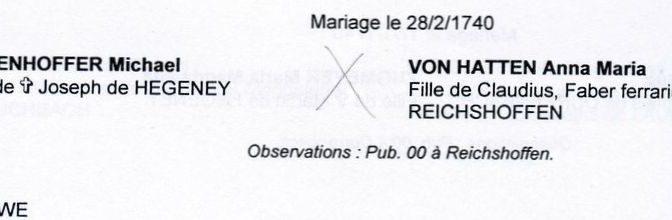 Recherche mariage Michel ATZENHOFFER x Anne-Marie Von HATTEN